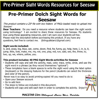 Pre-Primer Sight Words for Seesaw PNGs  Dolch Words
