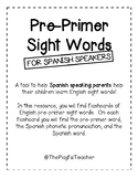 Pre-Primer Sight Word Flashcards for Spanish Speakers
