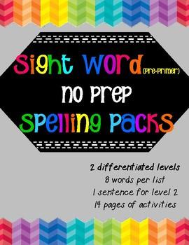 Pre-Primer Spelling Packs- NoPrep