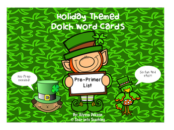 Pre-Primer St. Patricks Day Dolch Word Game