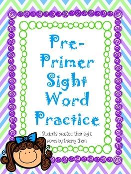 Pre-Primer Trace the Sight Word