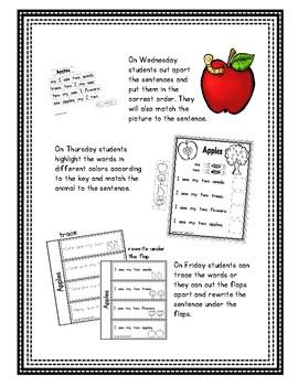Pre-Primer - Week 6 - Apples - Reader, Notebook, Pocket Chart