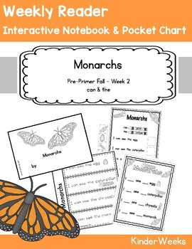 Pre-Primer - Week 2 - Monarchs - Weekly Reader, Notebook, Pocket Chart