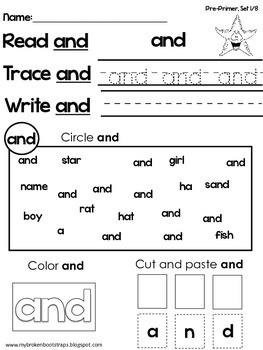 Pre-Primer Word Activities, Set 1 of 8