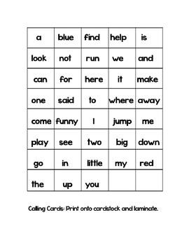 Pre-Primer Word Bingo