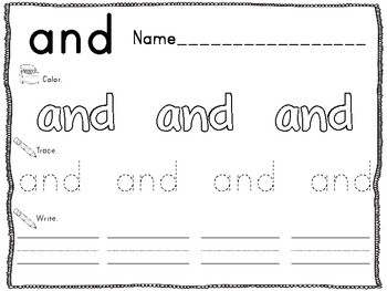 Pre-Primer Word Practice Pages