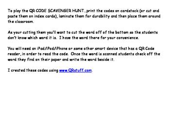 Pre-Primer Word - QR Code - Scavenger Hunt