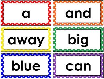 Pre-Primer Word Wall Cards (Polka Dot)