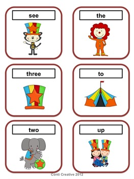 Pre-Primer Word Wall Words - Circus