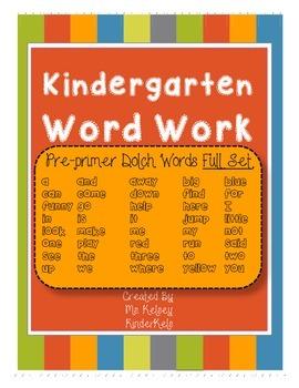 Pre-Primer Word Work 4 Set BUNDLE