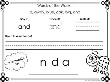 Pre-Primer Word Work Bundle
