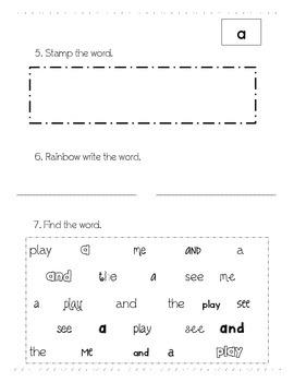 Pre-Primer Word Work FREEBIE