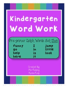 Pre-Primer Word Work SET 2