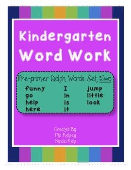 Pre-Primer Word Work SET 2
