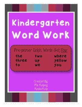 Pre-Primer Word Work SET 4