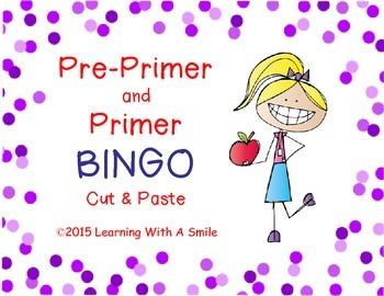 Bingo SIGHT WORDS~ Pre-Primer/ Primer - Cut & Paste