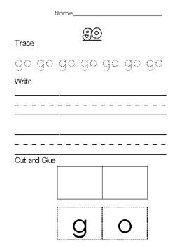 Pre-Primer and Primer DOLCH Sight Word Worksheets