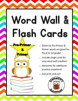 Pre-Primer and Primer Flash Cards and Word Wall Cards