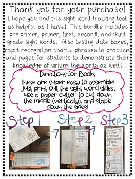 Pre-Primer and Primer Sight Word Books and Assessment Tool