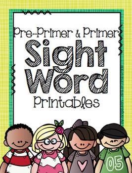 Pre-Primer and Primer Sight Word Printables