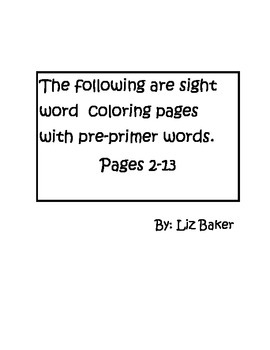 Pre-Primer and Primer Sight Word Seasonal Coloring Pages