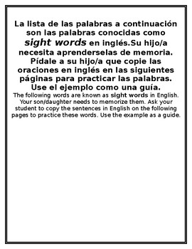 Pre Primer and Primer Sight Word Sentence Practice Spanish