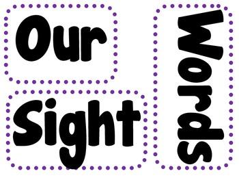 Pre-Primer and Primer Sight Words for Pocket Charts