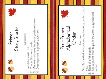 Fall/ Autumn Pre-Primer and Primer Words for Sight Word Games and Activities