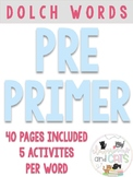 Pre Primer Dolch sight words for Pre K and Kindergarten at