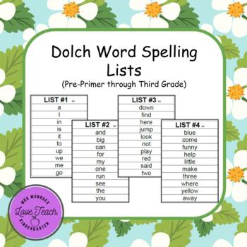 Pre-Primer through Third Grade Dolch Spelling Lists