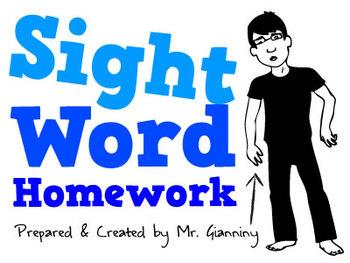 Pre-Primer to 2nd Grade Sight Word Homework