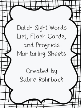 Pre-Primer to 3rd Grade Dolch Sight Word List, Flashcards and Tracking Sheets