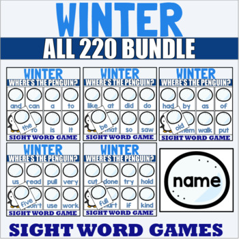 Pre-Primer to Third Grade Sight Word Game for Winter