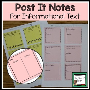 Pre-Printed Notes for Reading Comprehension- Informational Text