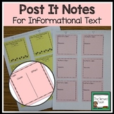 Sticky Note Templates for Reader Response- Informational Text