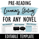 Pre Reading Learning Stations for ANY Novel: Engage studen