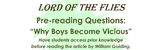 "Pre-Reading Questions: Golding's ""Why Boys Become Vicious"""
