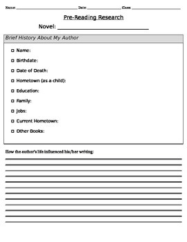 Pre-Reading Research: Author and Setting Background Knowledge