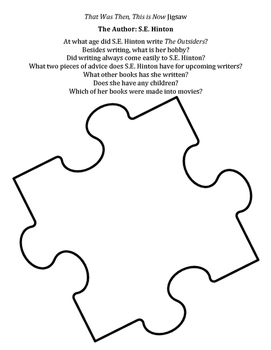 """Pre-Reading Research Jigsaw for """"That Was Then, This is Now"""""""