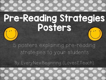 Pre-Reading Strategy Posters for your RLA  (Reading/Language Arts) Classroom