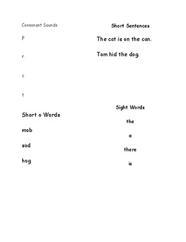 Pre-Reading and Early Reading List of Letters, Words and Simple Sentences