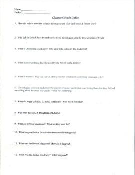 Pre-Revolutionary Rebellion, Creating America Chapter #6 Study Guide, Test, Key