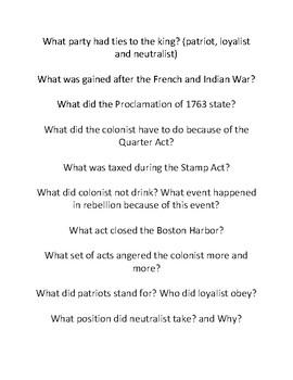Pre-Revolutionary War Bang Game