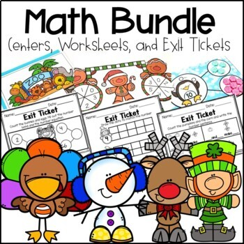 Pre-Sale Kindergarten Math Centers, Exit Tickets and Printables Growing Bundle
