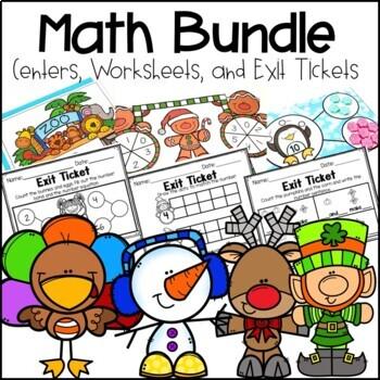Kindergarten Math Centers, Exit Tickets and Printables  Bundle