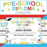 Pre-School Graduation Diploma (editable PDF)
