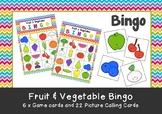Pre-School & Kindergarten Fruit & Vegetable Bingo Game Printable