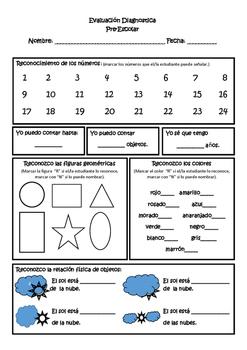 Diagnostic Record Sheet for Pre-School Math (español)