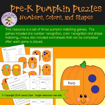 Pre-School Pumpkin Matching Puzzles: Numbers, Colors and Shapes