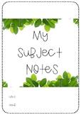 Pre-Service Teacher Printable: Comprehensive Subject Notebook